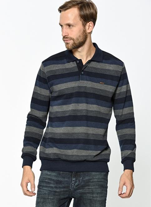 Lee Cooper Desenli Polo Yaka Sweatshirt Lacivert